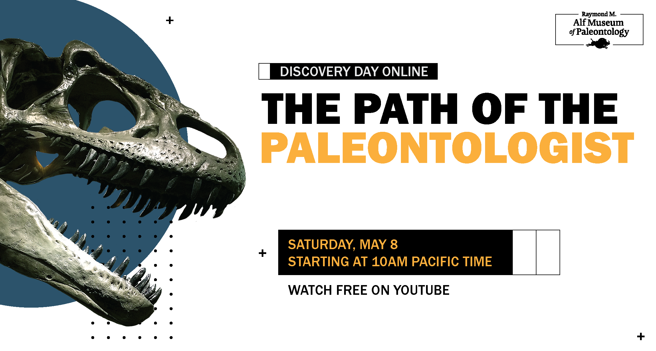 Graphic with an Allosaurus skull coming out of the left side in front of a blue circle. Text to the right reads: Discovery Day Online, The Path of the Paleontologist. Saturday, May 8 at 10am Pacific Time. Watch free on YouTube.